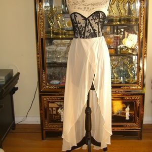 NWT TFNC BLACK LACE AND OFF WHITE HI LOW DRESS M